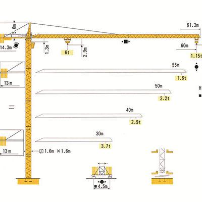 Башенный кран с оголовком RUNCHEN RCT6011-6/RCT5516-6 (MC115B)